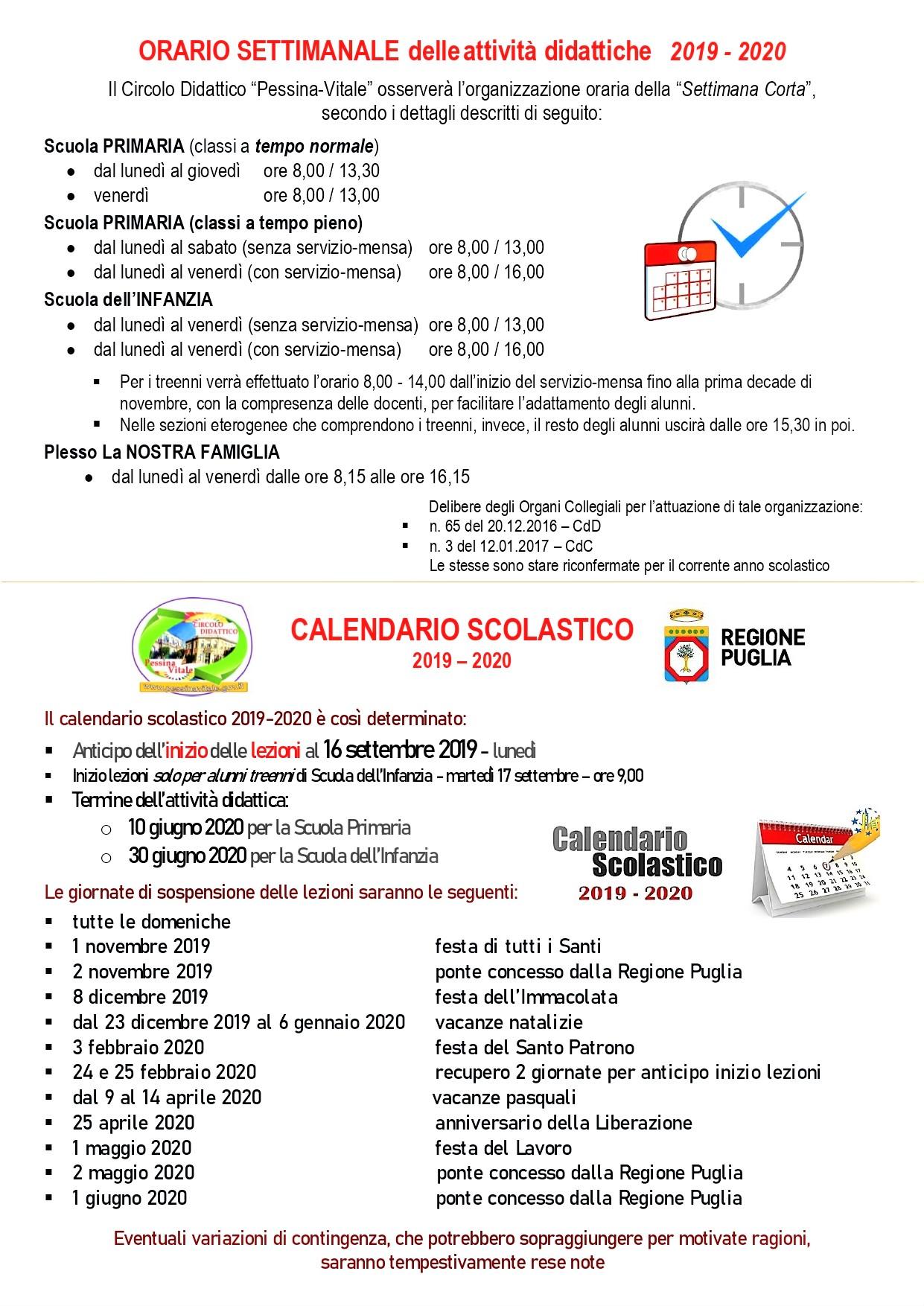 Calendario Scolastico 2020 18 Puglia.Circolo Didattico Pessina Vitale